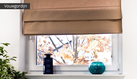 Effen vouwgordijn (bruin) voor raam