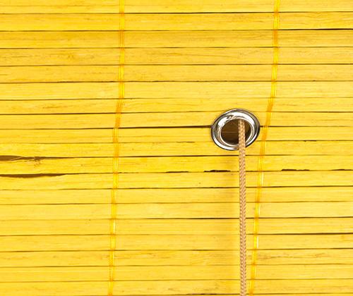 Bamboe vouwgordijn bamboe bediening detailfoto ring