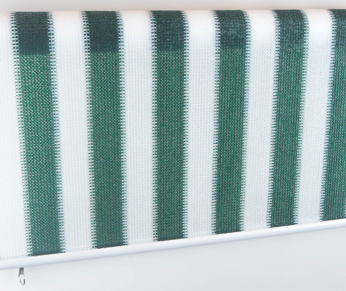 Voorkant van het buitenrolgordijn groen/wit