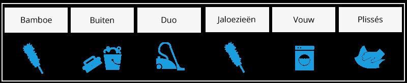 raamdecoratie schoonmaken tabel