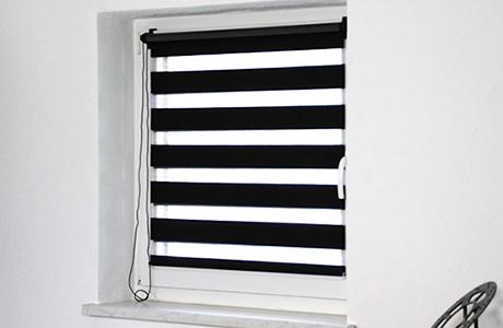 Duo rolgordijnen zwart/doorzichtig voor raam