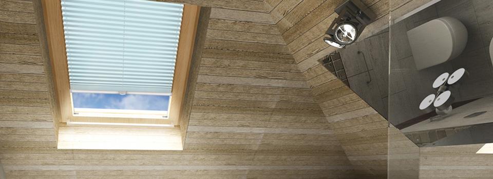 Lichtblauw plisse gordijn met koord plafondmontage in badkamer