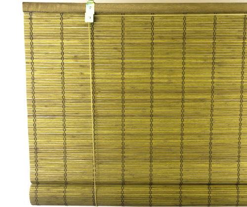 Bamboe rolgordijn goudbruin uitgerold