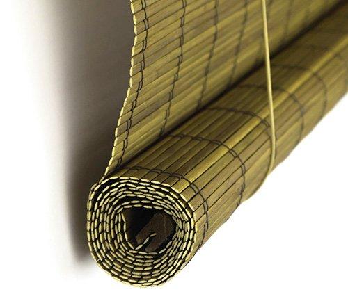 Bamboe rolgordijn goudbruin deels opgerold
