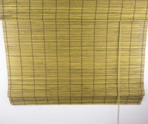 Bamboe vouwgordijn goudbruin uitgevouwen