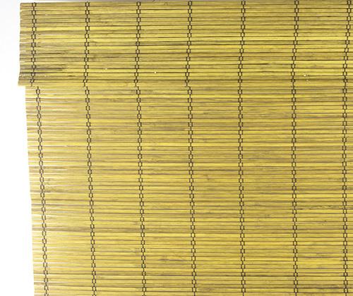 Bamboe vouwgordijn goudbruin detailfoto uitgevouwen voorkant